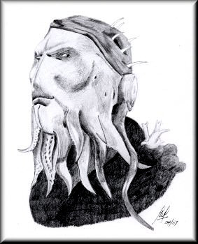 Tentacles - A pencil drawing by John W Johnston