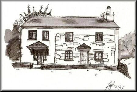 A Pen & Wash monochrome painting of a Cornish cottage