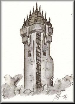 Wallace Monument - a drawing by John W. Johnston