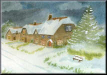 a watercolour painting of a Christmas Snow Scene