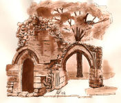 """Castle Ruin"" - A Pen & Wash sketch of a ruined section of Knaresborough Castle in Yorkshire, using Sepia Ink"