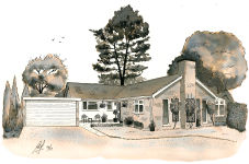"""Bungalow"" - A Pen drawing with Ink washes"