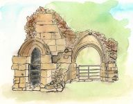 """Castle Ruin"" - A Pen & Wash sketch of a ruined section of Knaresborough Castle in Yorkshire"