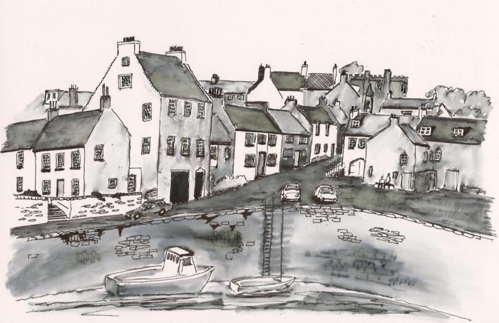 Pen and Wash painting of Crail Harbour