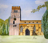 """All Saints church, Earls Barton"" - This wonderful church is famous for its unique mixture of architectures. Built around 970, architecture from every century from the 10th onwards is represented. It has a unique door halfway up the tower which can be seen on my watercolour pages."