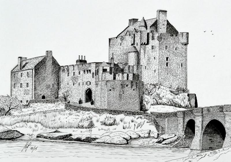 a pen and ink drawing of Eilean Donan Castle in Scotland