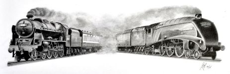 "<b>""Famous Pair""</b><br/>""Royal Scot"", 4-6-0 Royal Scot Class locomotive built in 1927, and <br/>""Mallard"", Class A4 4-6-2 Pacific steam locomotive, built in 1938. <br/>Mallard holds the world speed record for a steam locomotive of 125.88 mph.<br/><i>Graphite 16"" x 6"" on Daler-Rowney Heavyweight 135lbs Acid Free paper</i>"