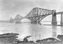 """Forth Rail Bridge"" - The reference photo was taken on a misty, murky day and I wanted to bring that through into my drawing.<br/>Graphite 10"" x 6"" on Extra Smooth Surface 250gsm Bristol Board"