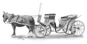 a pencil drawing of a Horse and Carriage