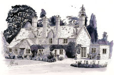 Pen and Wash painting of a house near Castle Ashby