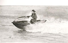 """Jet-skier"" - This guy sped past me as I walked out on Whitby pier.<br/>Graphite 10"" x 8"""