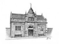 """Longnor Market Hall"" -  In the centre of the small village of Longnor in the Peak District stands this fabulous Grade 2 Listed building which was once the Market Hall. These days the Hall is a Craft Centre and Coffee Shop and if you're ever in the area it is well worth dropping in.<br/>Graphite 10"" x 6"" on Derwent 165gsm Sketching paper"