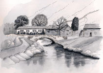 """Watendlath"" - A Pen & Wash monochrome painting of Watendlath in the Lake District"