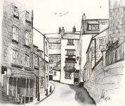 """New Road, Robin Hoods Bay"" - A Pen & Wash sketch of New Road, Robin Hoods Bay"