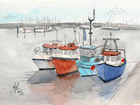 """Scarborough Boats"" - Another 'quickie', this time of a small group of boats moored in the harbour at Scarborough."