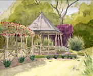 """Secret Garden"" - This wooden Gazebo sits at the end of a pathway that runs beneath a long rustic archway adorned with spectacular Roses. This is The Secret Garden in the grounds of Castle Ashby House."