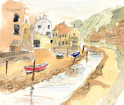 """Staithes"" - This sketch was an exercise in loosening up. Time allowed was just 10 minutes... 2 minutes drawing; 8 Minutes painting. Great fun!!"