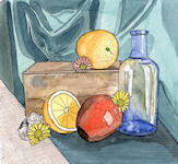 A Pen & Wash painting of Still Life