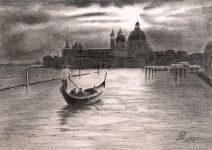 """Venice"" -  This drawing of a Gondola and the Venice skyline was an experiment in drawing Contra Jours (into the light).<br/>Graphite 10"" x 6"" on Derwent 165gsm Sketching paper"