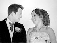 """Happy Couple"" - My daughter and son-in-law on their Wedding day. Drawn for their second anniversary.<br/> Graphite 12"" x 10"""