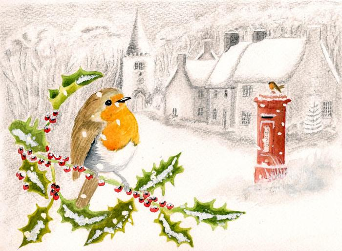 Other And Mixed Media: christmas card scenes to paint