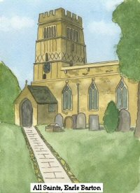 Painting of All Saints Church, Earls Barton, Northamptonshire