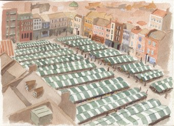 Painting of The Market Square, Northampton