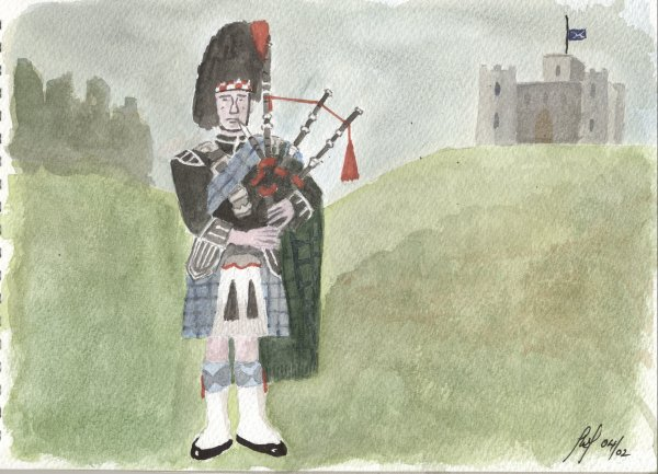 A Scottish piper from a photograph in a book. The background is fictitious. I felt ready to try something different ... I was wrong!