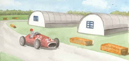 An impression of a 1950 Alfa-Romeo racing around Silverstone during the first British Grand Prix